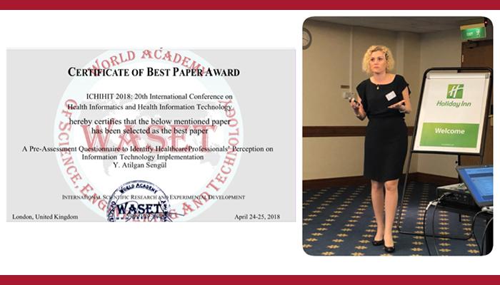 Dr. Öğr. Üyesi A. Yasemin ŞENGÜL EN İYİ MAKALE ödülüne layık görüldü
